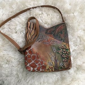 Anuschka Hand Painted Leather Crossbody w/ Wallet